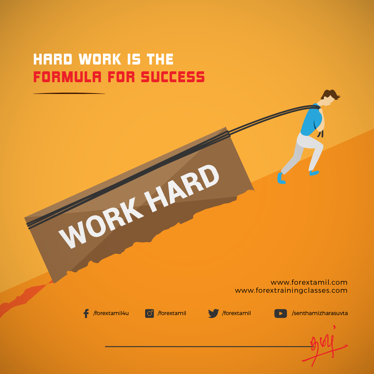 To achieve success work hard  Forex motivational quote